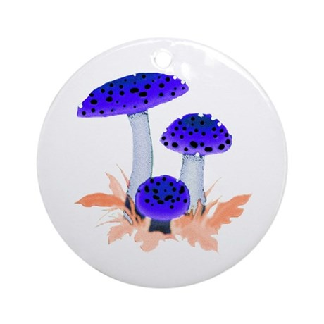 Blue Mushrooms Ornament (Round)