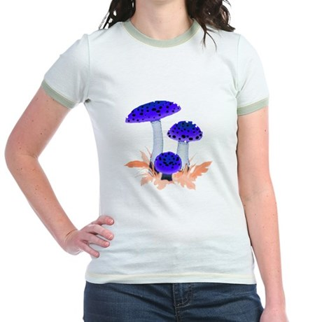 Blue Mushrooms Jr. Ringer T-Shirt