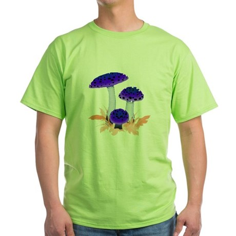 Blue Mushrooms Green T-Shirt