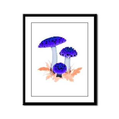 Blue Mushrooms Framed Panel Print