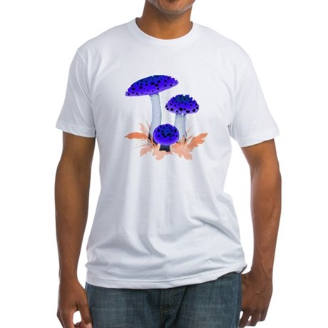 Blue Mushrooms Fitted T-Shirt