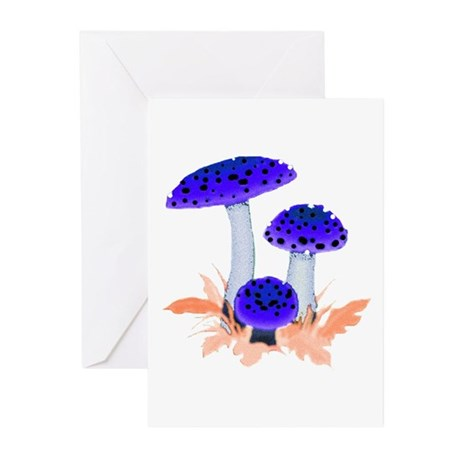 Blue Mushrooms Greeting Cards (Pk of 10)