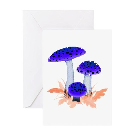 Blue Mushrooms Greeting Card