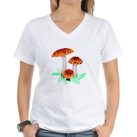 Orange Mushrooms Women's V-Neck T-Shirt