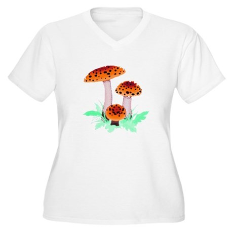 Orange Mushrooms Women's Plus Size V-Neck T-Shirt