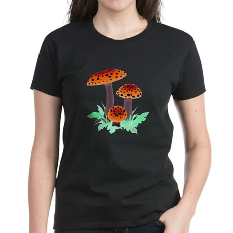 Orange Mushrooms Women's Dark T-Shirt