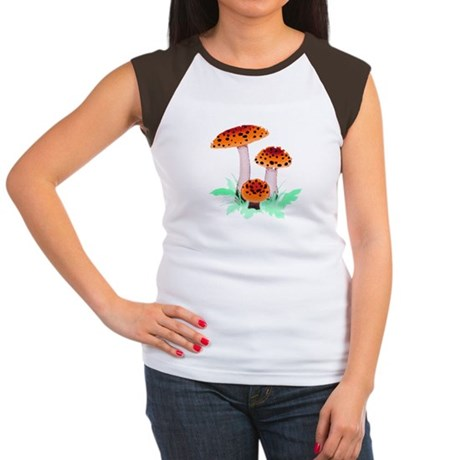 Orange Mushrooms Women's Cap Sleeve T-Shirt
