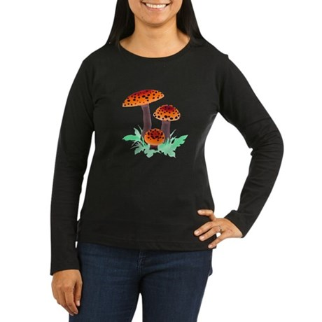 Orange Mushrooms Women's Long Sleeve Dark T-Shirt