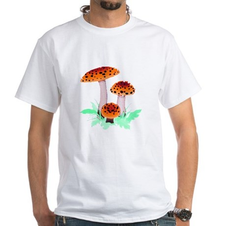 Orange Mushrooms White T-Shirt