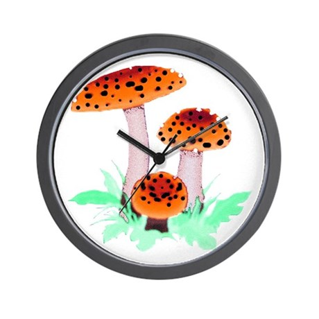 Orange Mushrooms Wall Clock