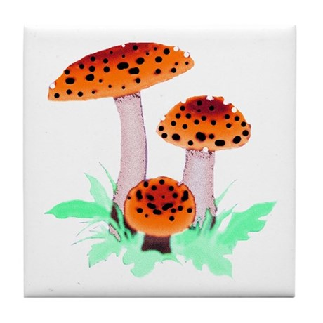 Orange Mushrooms Tile Coaster