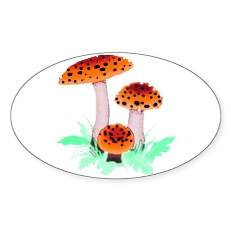 Orange Mushrooms Oval Sticker