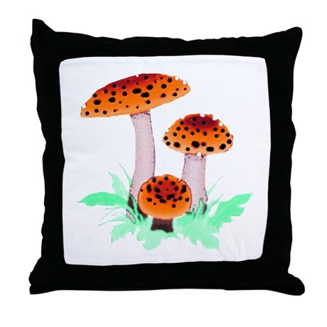 Orange Mushrooms Throw Pillow