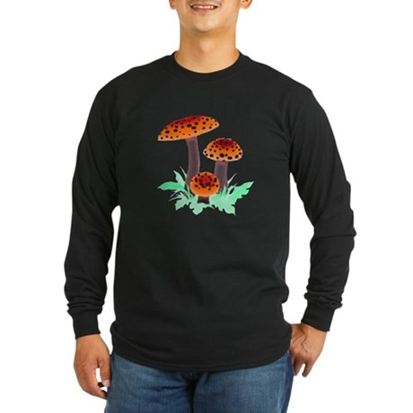Orange Mushrooms Long Sleeve Dark T-Shirt