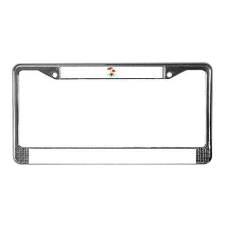 Orange Mushrooms License Plate Frame