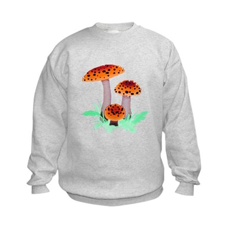 Orange Mushrooms Kids Sweatshirt