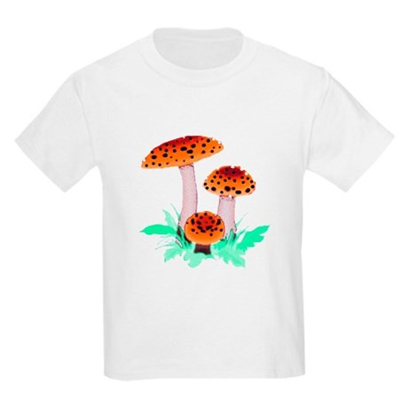 Orange Mushrooms Kids Light T-Shirt