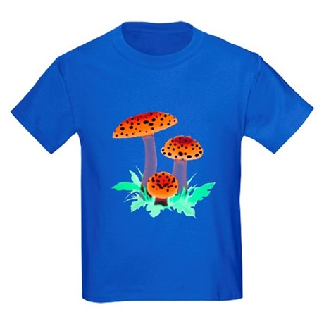 Orange Mushrooms Kids Dark T-Shirt