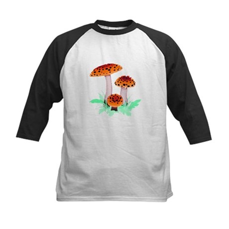 Orange Mushrooms Kids Baseball Jersey