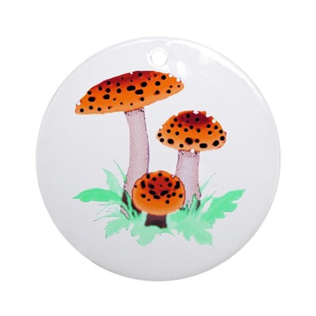 Orange Mushrooms Ornament (Round)