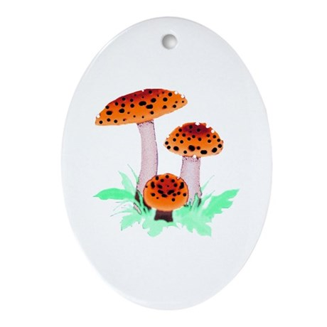 Orange Mushrooms Oval Ornament