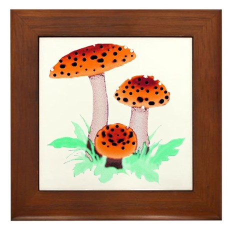 Orange Mushrooms Framed Tile