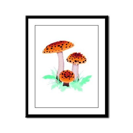 Orange Mushrooms Framed Panel Print