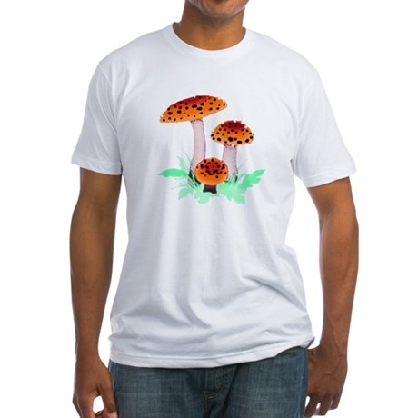 Orange Mushrooms Fitted T-Shirt