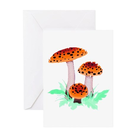 Orange Mushrooms Greeting Card