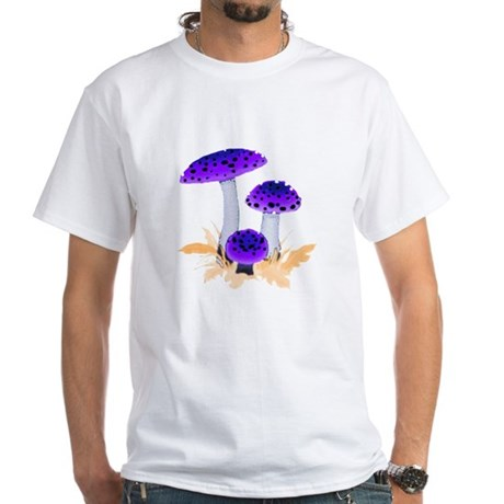 Purple Mushrooms White T-Shirt