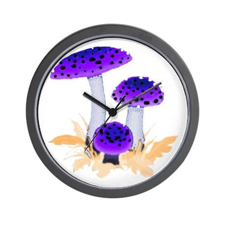 Purple Mushrooms Wall Clock