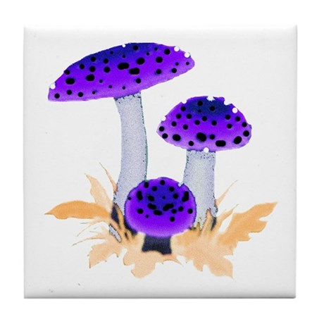 Purple Mushrooms Tile Coaster