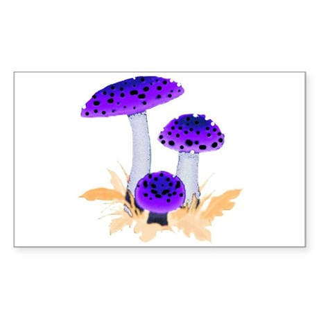 Purple Mushrooms Rectangle Sticker