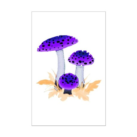 Purple Mushrooms Mini Poster Print
