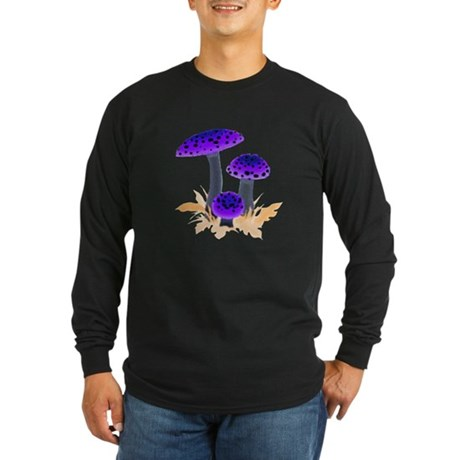 Purple Mushrooms Long Sleeve Dark T-Shirt
