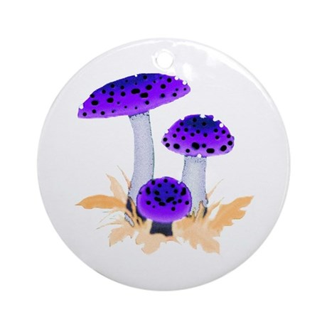 Purple Mushrooms Ornament (Round)