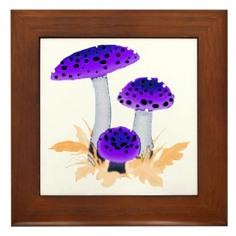 Purple Mushrooms Framed Tile