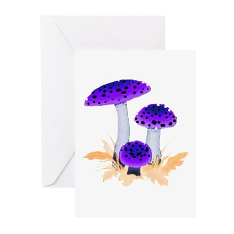 Purple Mushrooms Greeting Cards (Pk of 10)
