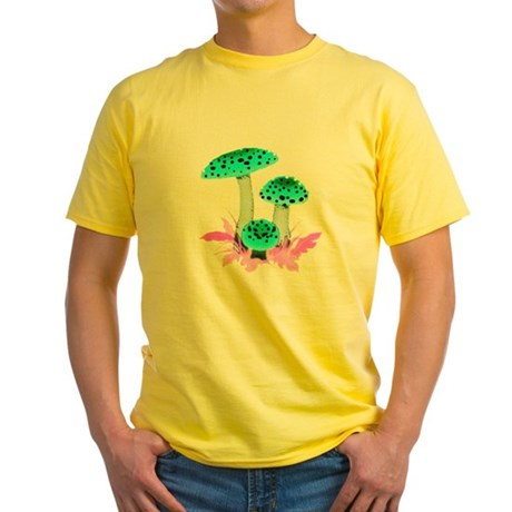 Teal Mushrooms Yellow T-Shirt