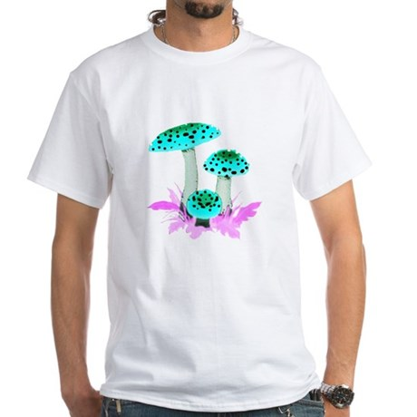 Teal Mushrooms White T-Shirt