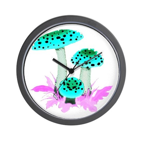 Teal Mushrooms Wall Clock