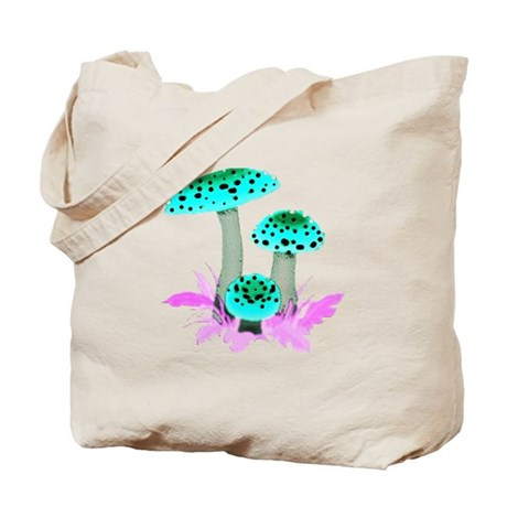 Teal Mushrooms Tote Bag