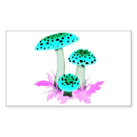 Teal Mushrooms Rectangle Sticker