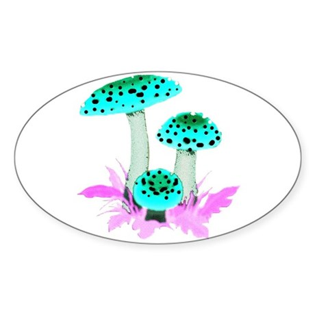 Teal Mushrooms Oval Sticker