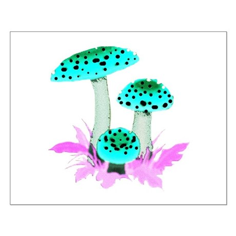 Teal Mushrooms Small Poster