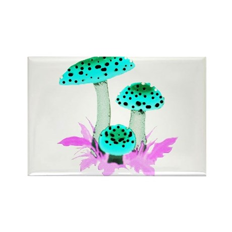 Teal Mushrooms Rectangle Magnet