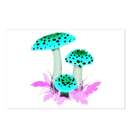 Teal Mushrooms Postcards (Package of 8)