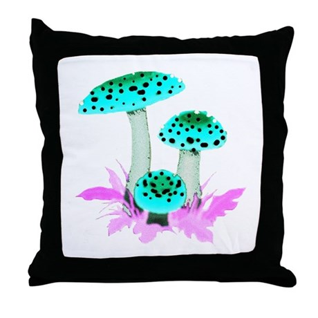 Teal Mushrooms Throw Pillow