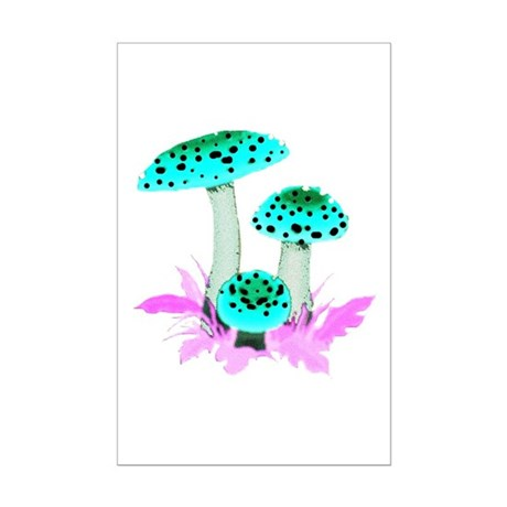 Teal Mushrooms Mini Poster Print