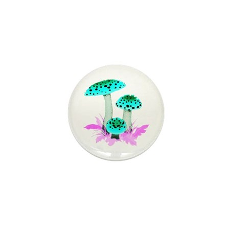 Teal Mushrooms Mini Button